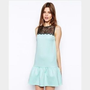 ASOS drop waist dress with lace accent EUC
